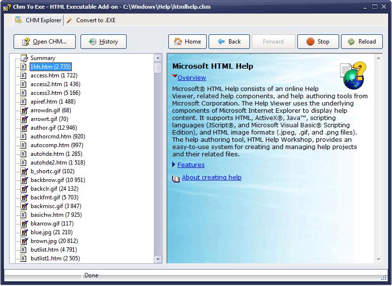 CHM To Exe - Screenshots - HTML Executable